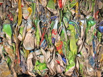 Recycle. Compressed tin cans from beer festival. Care for environment and nature Royalty Free Stock Photography
