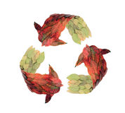 Recycle. Recyle clipart, made from real leaves jasmine Stock Image