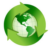 Recycle. An illustration of earth with a recycle symbol wrapped around it Stock Image