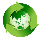 Recycle. An illustration of earth with a recycle symbol wrapped around it Stock Images