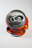 Recycle. A crushed soda can with please recycle and don't litter message stock photos