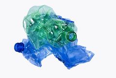Recycle. Three plastic bottles ready to be recycled Stock Images