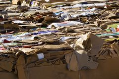 Recycle. Cardboard boxes and paper packed up to be shipped for recycling Stock Images