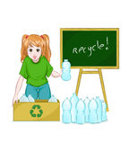 Recycle. Young girl recycling bottles next to a blackboard that sais recycle Stock Image