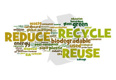 Recycle. A cloud of words related to recycling over a recycle universal symbol on the background and in earth color fonts Stock Photography