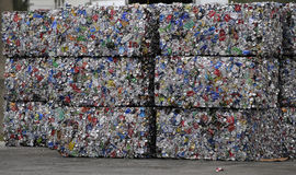 Recycle. Thousands of cans bundled at a Florida landfill getting them ready to be recycled Stock Photo