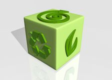 Recycle. Green cube in 3d Royalty Free Stock Images