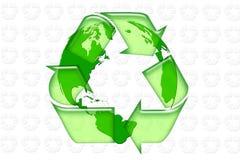 Recycle. Symbol overlaid onto a world globe Stock Photos