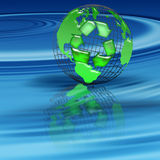 Recycle. World globe floating on a pool of blue water Stock Photos