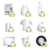 Recycle. A vector illustration of different items that can be recycled Stock Photos