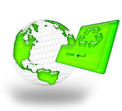 Recycle. World globe with computer enter key with a overlaid recycle symbol Stock Image