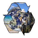 Recycle. Arrows wrapped around a planet water sky and forest Stock Photos