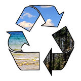 Recycle. Arrows wrapped around a planet water sky and forest Royalty Free Stock Image