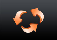 Recycle. 3d type recycle arrows in black background Royalty Free Stock Images