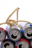 Recycle. Concept. Aluminum cans tied with twine rope Stock Photos