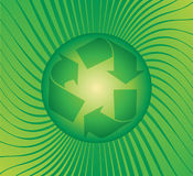 Recycle. Logo on a green burst background royalty free illustration