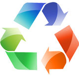 Recycle. Sign with three colors of arrows Stock Images