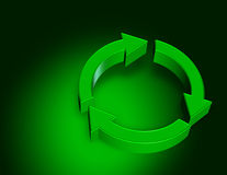 Recycle. Green recycle symbol 3d rendering on green background Stock Photo
