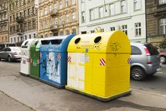 Recycle. Recycling containers in Prague Czech Republic Stock Image