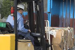 Recycle. Man on a forklift wearing safety helmet, removing a bale of cardboard boxes Stock Photography