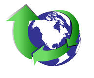 Recycle. Icon with globe illustration on isolated background Royalty Free Stock Images