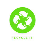 Recycle it - abstract green circle recycling icon. Recycle it - abstract green circle environmental recycling icon. Vector illustration Stock Photography
