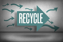 Recycle against arrows pointing Stock Photos