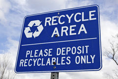 Recycle area sign Stock Images