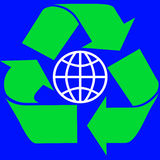 Recycle Around the World. Recycle Sign encompassing a globe Royalty Free Stock Photo