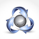 Recycle around yin yang. Illustration of arrows in a recycle symbol around a yin yang symbol Royalty Free Stock Images