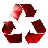 Recycle arrows. Am image showing three recycle arrows with an abstract red black white and pink texture to them made up of illustrations of leaves Stock Photography