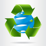 Recycle arrows and abstract blue sphere. Eco concept Stock Photography
