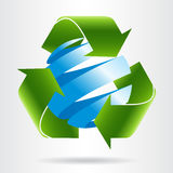 Recycle arrows and abstract blue sphere. Royalty Free Stock Photos
