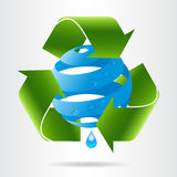 Recycle arrows and abstract blue sphere with water drops. Stock Image