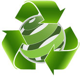 Recycle arrows and abstract green sphere. Royalty Free Stock Photo