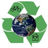 Recycle arrows with the earth, bicycle and home sign on white ba. Ckground, Elements of this image furnished by NASA Royalty Free Stock Images