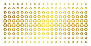 Recycle Arrows Gold Halftone Array. Recycle arrows icon golden halftone pattern. Vector recycle arrows pictograms are organized into halftone matrix with stock illustration
