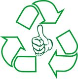 Recycle arrows, hand, recycle sign, recycle sign in 3d, logo in color. Recycle arrows, recycle signs, recycle collection, logo in color, recycle arrows in color Stock Images