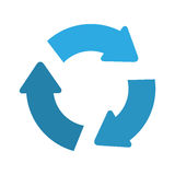 Recycle arrows icon. Blue recycle arrows sign over white background. vector illustration Royalty Free Stock Image