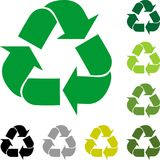 Recycle arrows, recycle signs, recycle collection, logo in color. Recycle arrows in color Stock Images