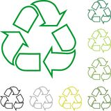 Recycle arrows, recycle signs, recycle collection, logo in color. Recycle arrows in color Royalty Free Stock Photo