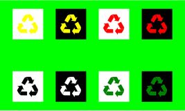 Recycle arrows symbol flat icon for web apps websites various colours red yellow black white green vector illustration. Computer graphic web design Royalty Free Stock Photography