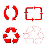 Recycle arrows. Various red recycle arrows icons on white background Royalty Free Stock Photography