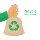 Recycle bag hold hand royalty free illustration