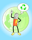 Recycle batteries. Cartoon battery recommends recycling with globe at the background Royalty Free Stock Image