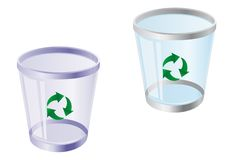 Recycle bin. Glossy recycle bin isolated on white for web design Royalty Free Stock Photos