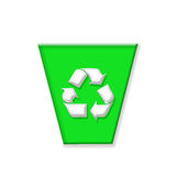 Recycle bin. Green recycle bin on white background Royalty Free Stock Image