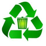 Recycle bin. Recycling bin. Recycle and bin symbols stock illustration