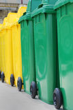 The recycle bin. Align of  the recycle bin in different of the colors Royalty Free Stock Image