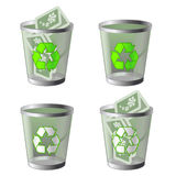 Recycle bin. Christmas version recycle bin (empty and filled with christmas card stock illustration